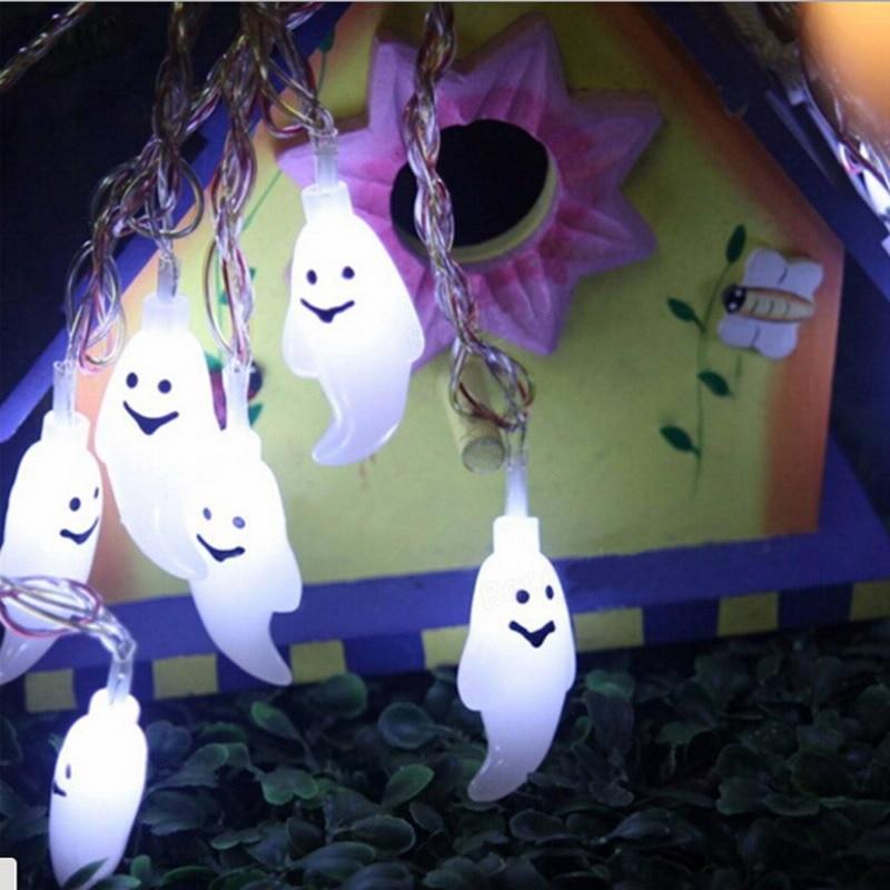 20 LED bulbs Halloween Ghost String Lights Lamp Battery Powered Flashing Holiday Decor