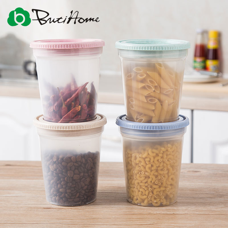 Butihome Home Storage Box Wheat Straw Stackable Sealed Canister Kitchen Food Storage Box Plastic Whole Grain Storage Tank