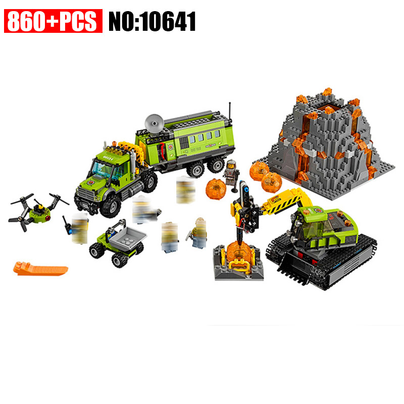 10641 City Series Volcano Exploration Base Geological Prospecting Building Block DIY Bricks Toys Gift For Children 60124 compatible city lepin 02005 889pcs the volcano exploration base 02005 building blocks policeman educational toys for children