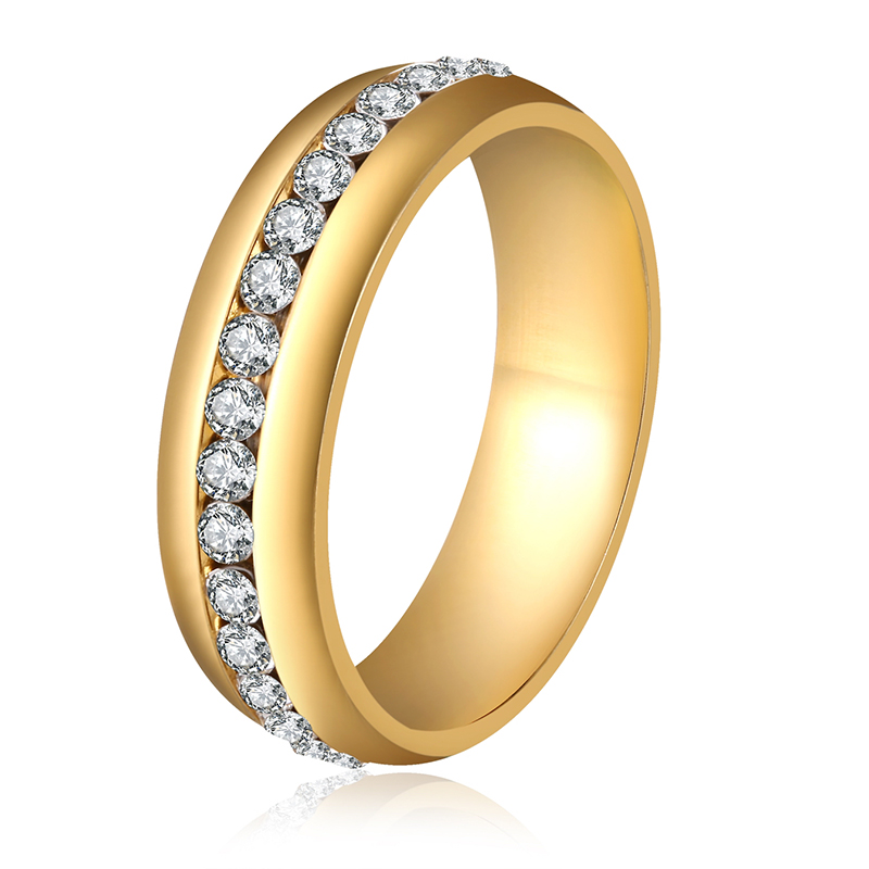 6mm Gold Silver Plated Stainless Steel with Crystal Rings for Women Men Trendy Rings Charming Wedding Finger Rings Love Gifts