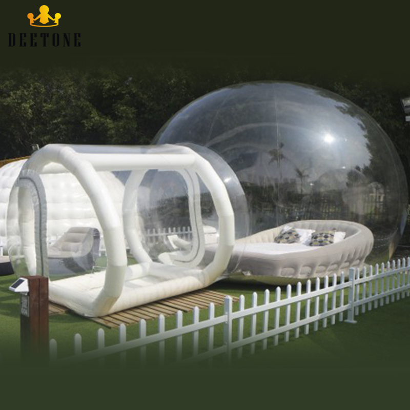 Outdoor Inflatable Transparent bubble house Clear Crystal Camping Bubble Tent With Tunnel/ Inflatable Bubble Iodge tent For Sale title=