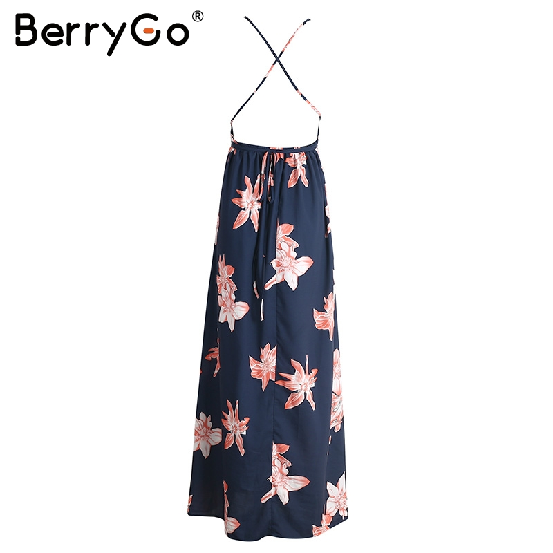 BerryGo Boho deep v neck backless long women dress Chiffon split cross lace up summer dress Sleeveless beach maxi dress vestidos 4