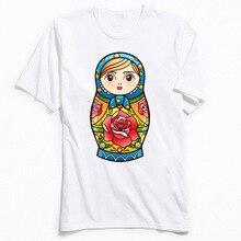 Kawaii T-shirt Printed Men T Shirts RUSSIAN NESTING DOLL Custom Gift Tshirt Matryoshka Cartoon Tops Tees Summer Clothes Cute