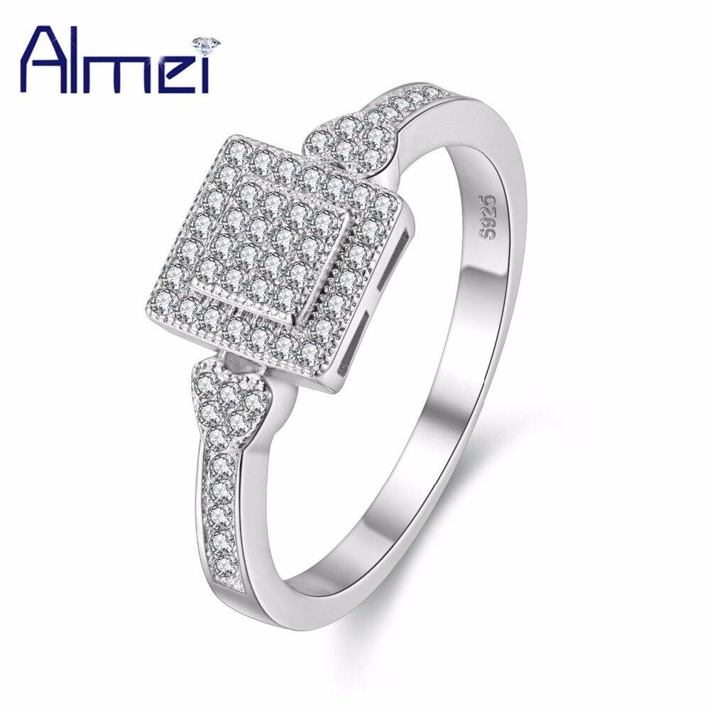 ea4e4baac682 Cuadrados moda anillo de compromiso de plata CZ ZIRCON joyería para las  mujeres piedra nuevos anillos cristal también anillos Anel bijoux almei Y010