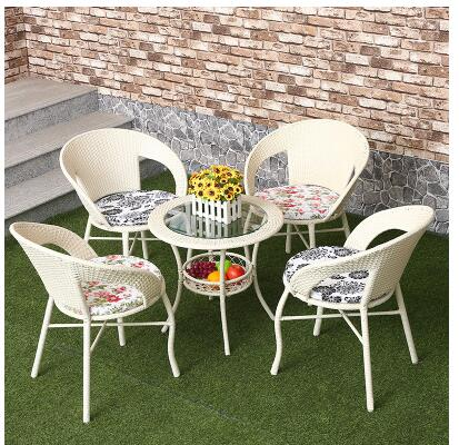 Balcony table and chair. Cane chair. Tea table. Three-piece living room indoor recreational furniture 1
