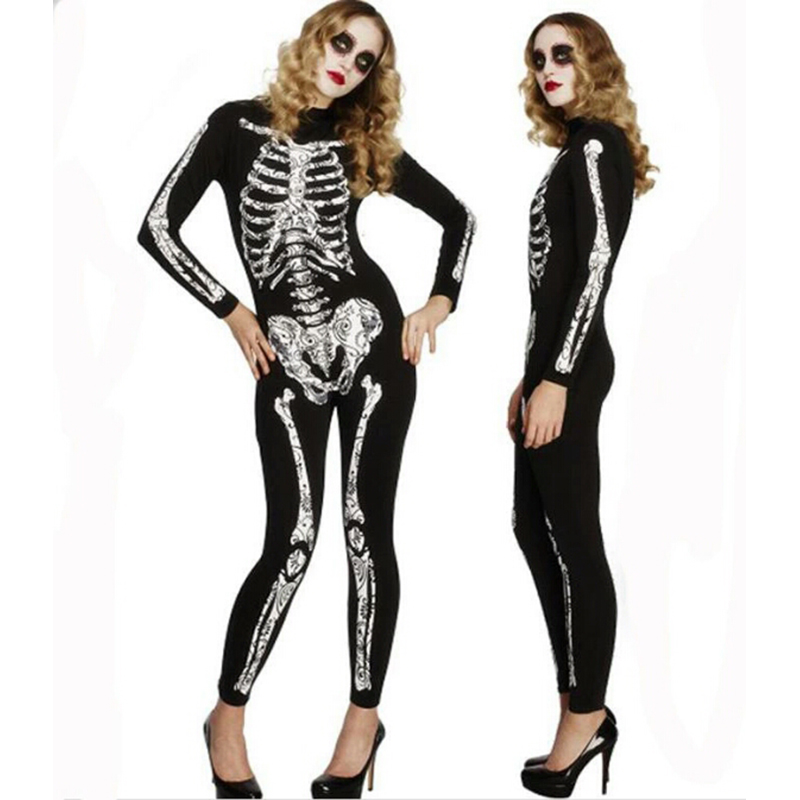 <font><b>2018</b></font> New <font><b>Halloween</b></font> coco Ghost Vampire Costume Adult Woman's Horror Bones <font><b>Halloween</b></font> <font><b>Sexy</b></font> Play Costume Zombie Tights Bodysuit image