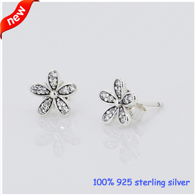 925 Sterling Silver Daisy Silver Earrings Compatible with European Style Jewelry Fashion Charms DIY Making CKK