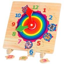 Bébé Jouets Infantile Multifonction Horloge Numérique Cognitive/Animal Paire Éducatifs Jouets En Bois Support Horloge Puzzle Cadeau D'anniversaire