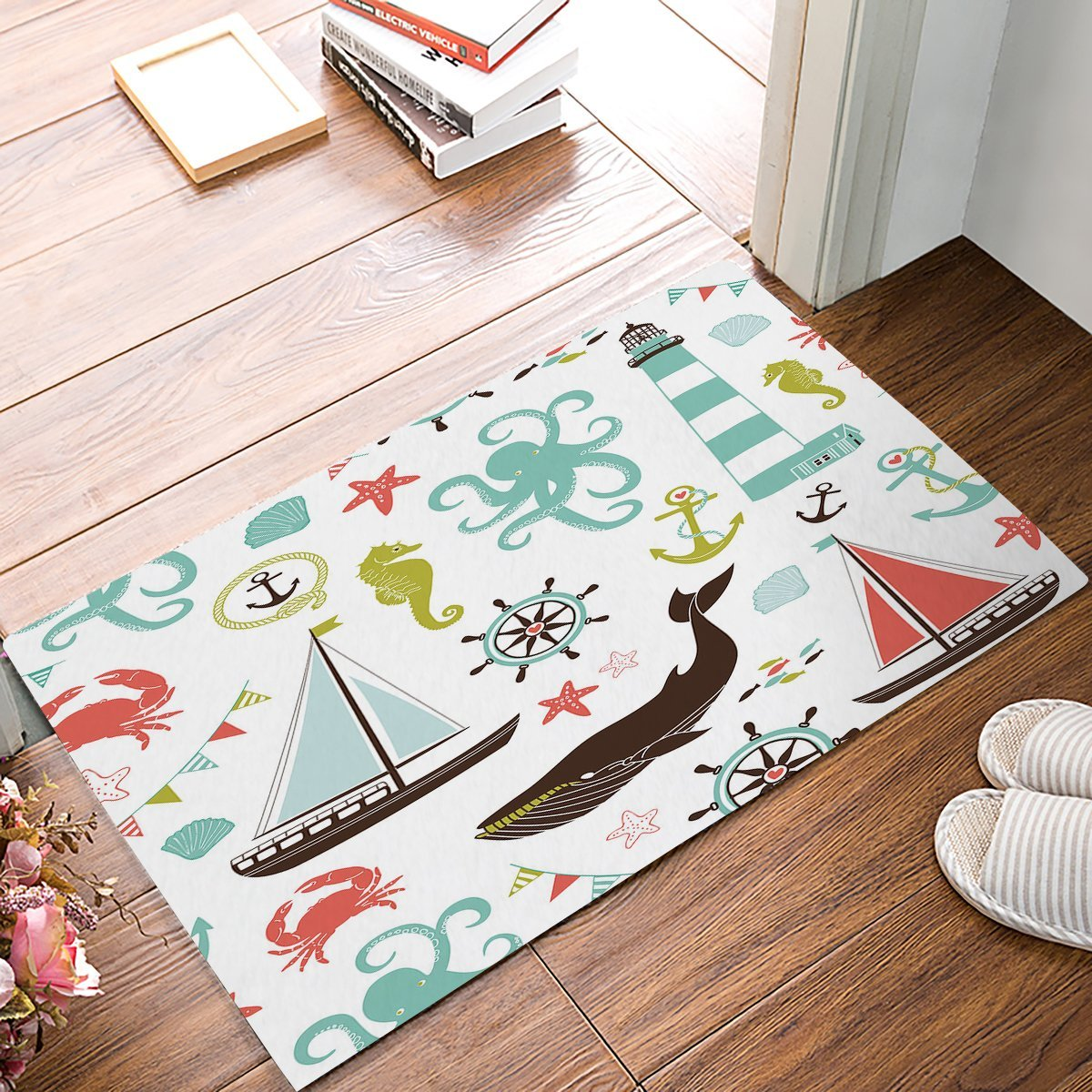 Beach Theme - Whale Starfish Seashell Boat Tower Anchor Nautical Door Mats Kitchen Floor Bath Entryway Rug Mat