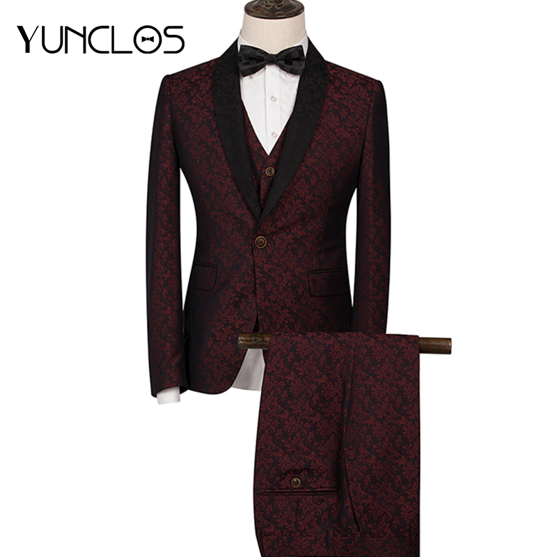 YUNCLOS 2019 Men's Suit 3 Pieces Suits Slim Fit Luxury Wedding Suits For Men Shawl Collar Men Tuxedos Party Dress-in Suits from Men's Clothing    1