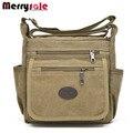 Os novos homens e mulheres clássico saco de lona bolsa de ombro bolsa de viagem moda casual Multi Bolso diagonal