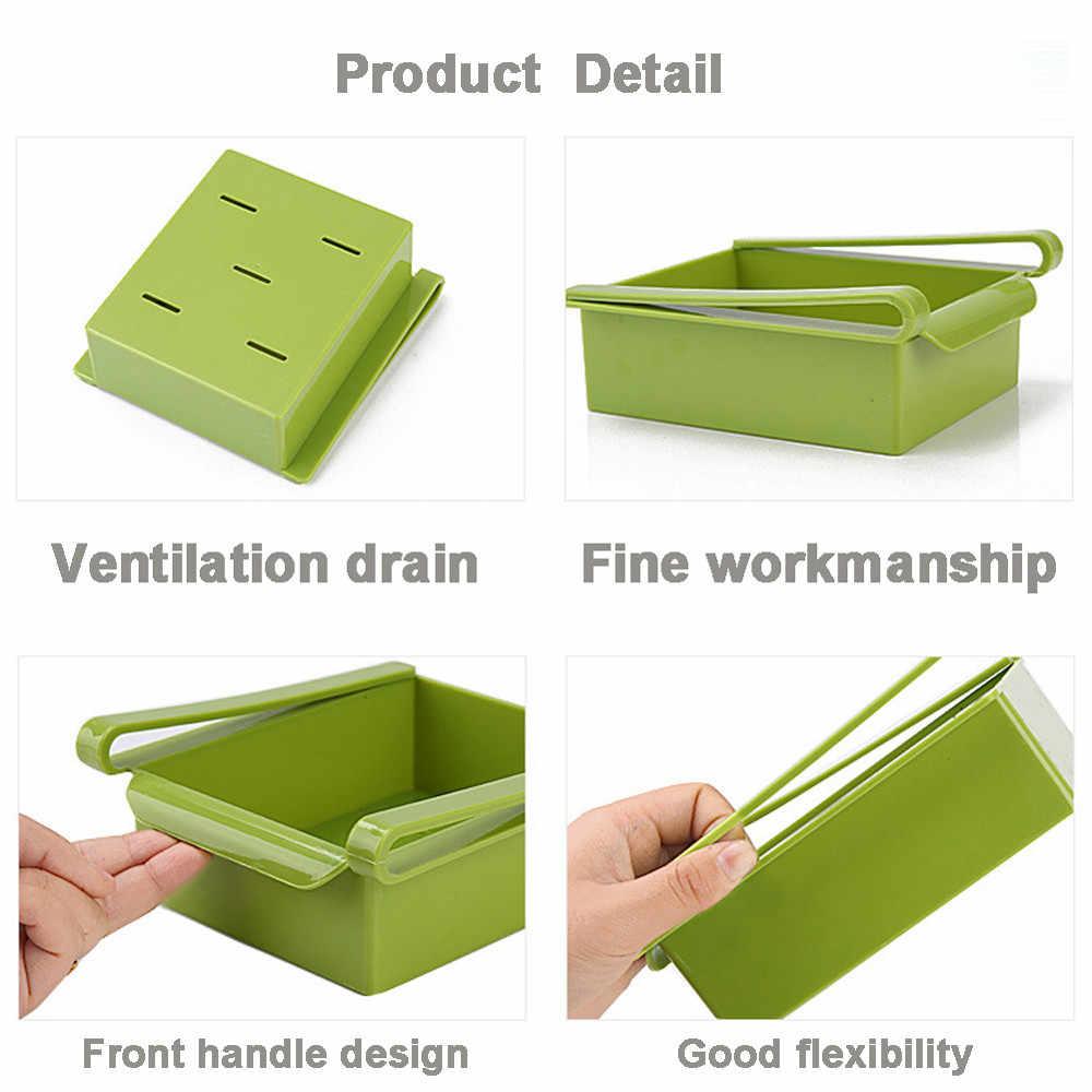 Solid Color Kitchen Storage Box Fridge Freezer Saver Space Organizer Storage Rack Shelf Holder Kitchen organizer na kosmetyki