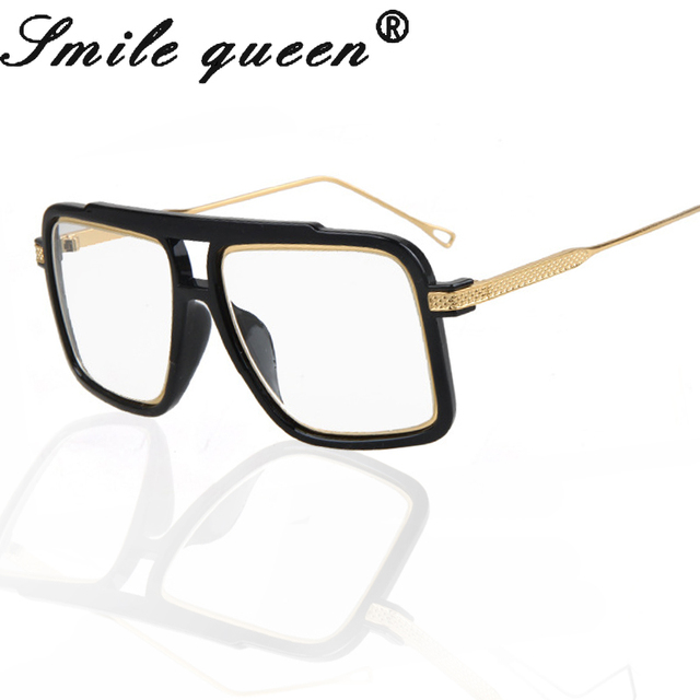 737d8d0310 Square Flat Top Glasses Frame Famous Brand Designer Glasses Men 18K Gold  Metal Frame Mirror Clear Glasses Lentes Opticos Mujer