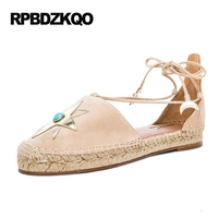 Flats Hemp 9 Designer Lace Up Canvas Espadrilles Ankle Strap Straw Shoes Printed Nude Rope Women Sandals Summer Star Large Size