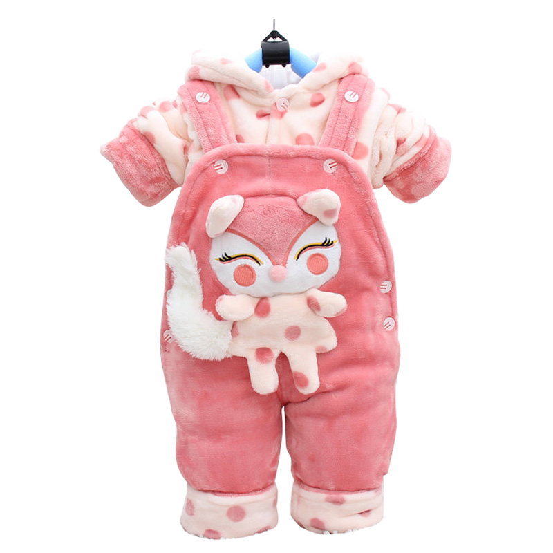 Winter Autumn Cartoon Thicken Long Sleeve+Suspender Trousers 0-2 Years Baby Infant Girls 2 Pieces Children's Clothes Cute цена 2017
