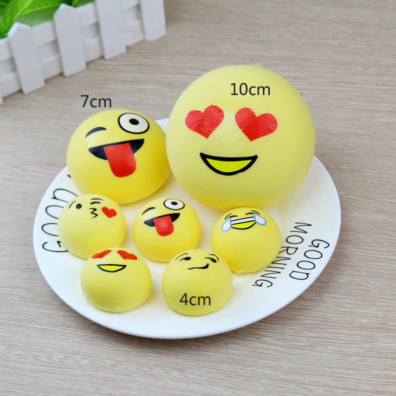 Energetic 4cm/7cm Kawaii Bread Cake Squeeze Emotion Emoji Squishy Slow Rising Stretchy Charm Cute Pendant Kid Toy Gift Phone Straps P15 Mobile Phone Straps