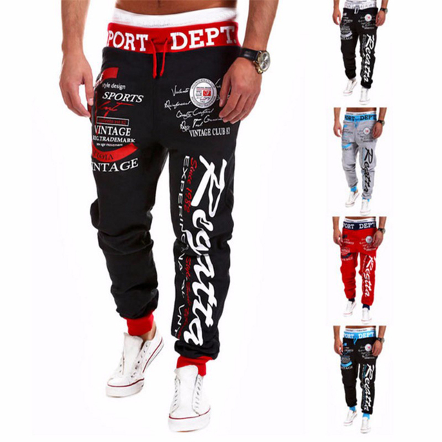 Male Trousers 2018 New Men'S Casual Letters Loose Sweatpants Spell Color Printed Lace Trousers Joggers Men'S Pants Plus Size 3XL