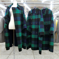 2018 синий зеленый плед шерстяные пальто для женщин выше колена модные корейские длинные Бубль слоев кашемира смеси пальто толст