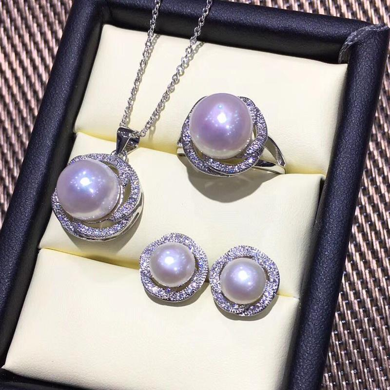 FENASY Pearl Jewelry Sets Pearl Pendant Necklace 925 Sterling Silver Stud Earrings For Women Big Rose Ring Bridal Fine Jewelry