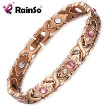 Rainso Розовый Кристалл gem браслет магнитная здоровья био энергии