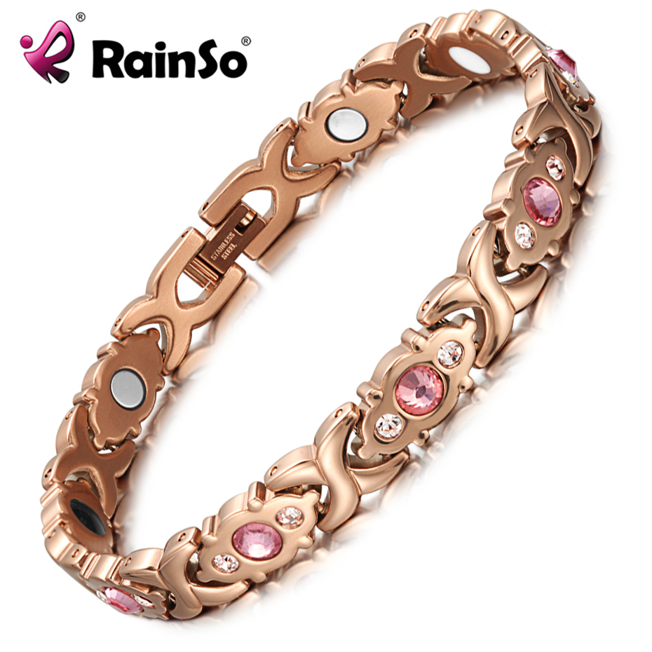 RainSo Pink Crystal Gem Bracelet Magnetic Health Bio Energy Bracelets Rose Gold Fashion Jewelry Christmas Gifts for Women Lady