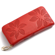 Luxury Brand Long Women Wallet Female Large Purse Perse Carteira Woman Genuine Leather Card Holder Money Bag Ladies Coin floral