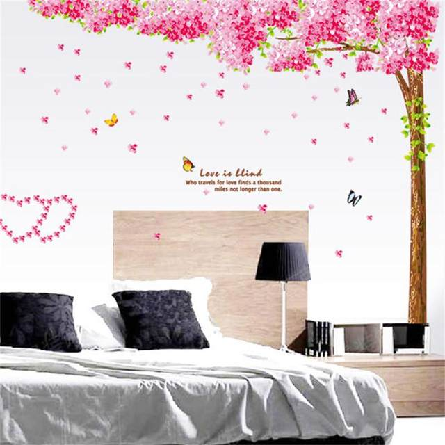 Large Pink Cherry Blossoms Tree Erfly Wall Sticker Vinyl Art Decal S Bedroom Living Room Decor Decorative Mural
