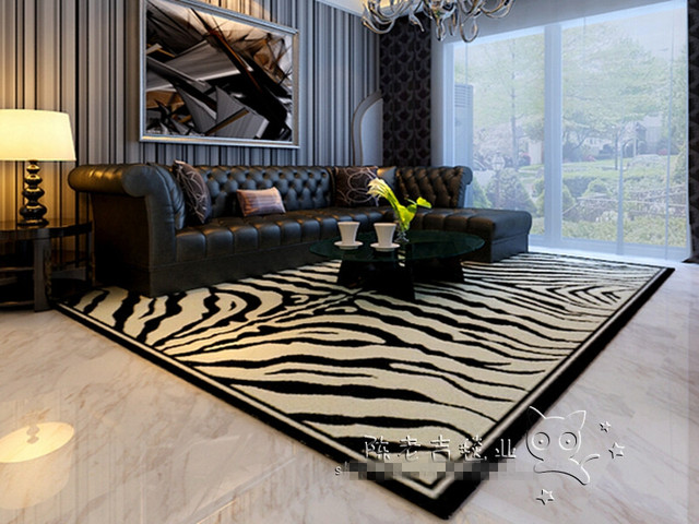 New Arrival Black And White Tiger Pattern Acrylic Room Carpets Rugs Bape Rug Carpet