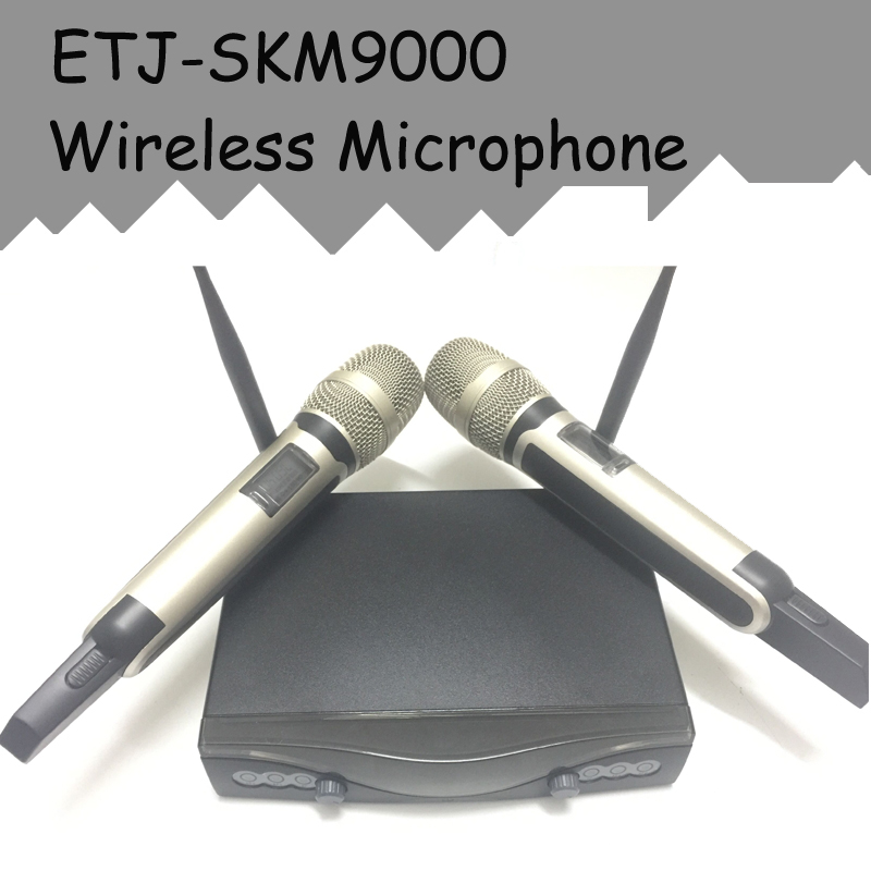 ETJ Brand SKM9000 Wireless Microphone VHF Wireless System Dual Microphone hot sale top quality true diversity system 2 antenna for stage em2050 skm 9000 skm9000 wireless microphone system 2 performan