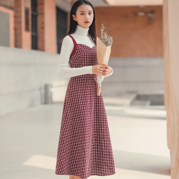 Mori Girl Autumn Winter All-Match Women Long Sundress Suspenders Vintage Plaid Bandage Vestido Feminino Elegant Sweet Lady Dress girl
