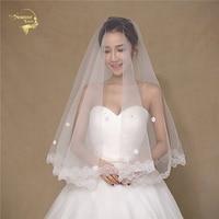 150 Wholesale Simple Soft Tulle Wedding Veils Lace Edge Bridal Accesories White Ivory Wedding Veils Wedding