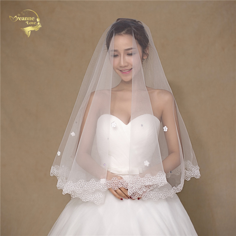 150 Wholesale Simple Soft Tulle  Wedding Veils Lace Edge Bridal Accesories White Ivory Wedding Veils Wedding ACCESSORIES OV32999