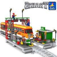 Model building kit compatible with lego Train waiting station rails 3D block Educational model building toy hobbies for children