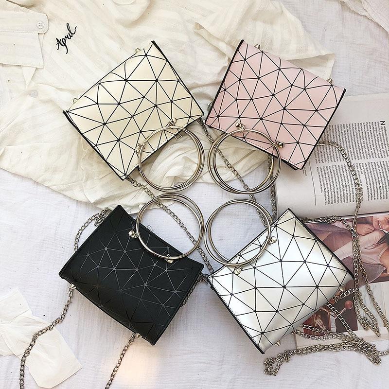 2019 new transparent shoulder bag Korean version of the chain wild rhombic slung female bag small square bag 1