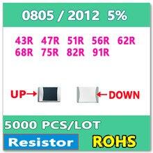 Оригинал 0805 J 5% 5000 шт. 43R 47R 51R 56R 62R 68R 75R 82R 91R smd резистор 2012 ОМ
