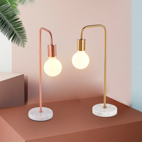 Modern minimalist children's room bedside table lamp living room study creative decoration rose gold / gold marble table lamp