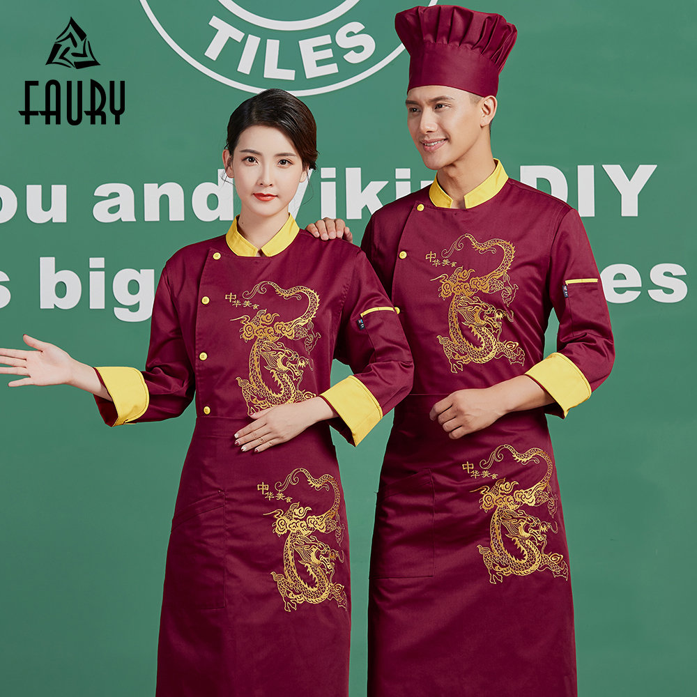 Wholesale Embroidery Dragon Single Breasted Restaurant Long Sleeve Chef Jackets Kitchen Work Uniforms Food Service Overalls Tops