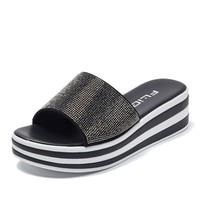 Women Flip Flops Fashion Women Height Increasing 5 cm Slipper Female Crystal Flat Summer Shoes Thick Bottom Bling Beach Slides