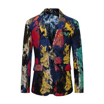 Męskie kurtki męskie nowe modne dorywczo jednorzędowe kurtki męskie biznesowe oficjalne kurtki z nadrukiem tanie i dobre opinie auguswu Pojedyncze piersi Ścięty Marynarek L-114 Pełna REGULAR Na co dzień Poliester COTTON