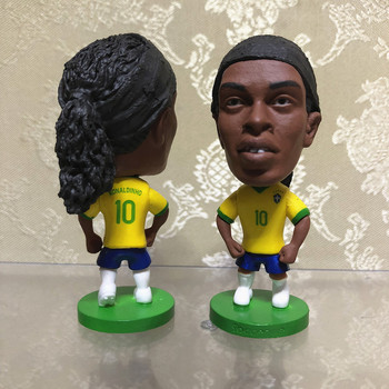 Kodoto National 6.5*3.5 cm size resin Soccer Doll 10 ronaldinho mini Figure Office Doll in yellow kit muñeco buffon