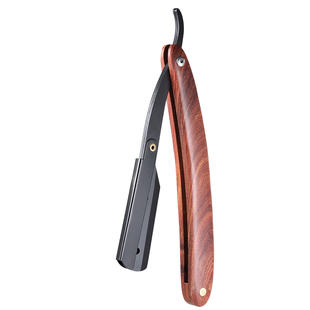 Men Shaving Straight Edge Razor Stainless Steel Manual Razor Wooden Handle Folding Shaving Knife Shave Beard Cutter Pouch