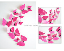 Free shipping 12pcs PVC 3d Butterfly Wall stickers Home decor Plain red color Butterflies Decals Decoration