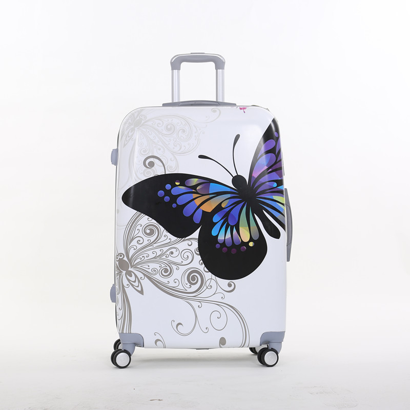Wholesale!Gril 28 inch pc butterfly hardside trolley luggage bags on 8-universal wheels,super light fashion luggage for female