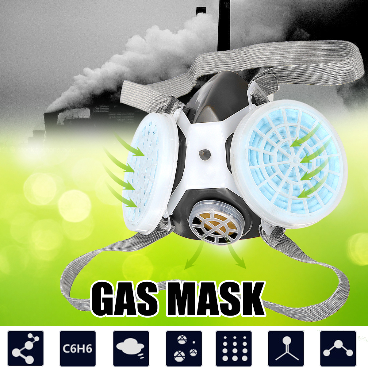 Safety Protective Gas Mask Half Face Painting Spraying Industrial Filter Anti-Dust Mask Respirator Workplace Safety Supplies safety respiratory gas mask half face filter anti dust smoke protective mask for painting spraying industrial pesticide chemical