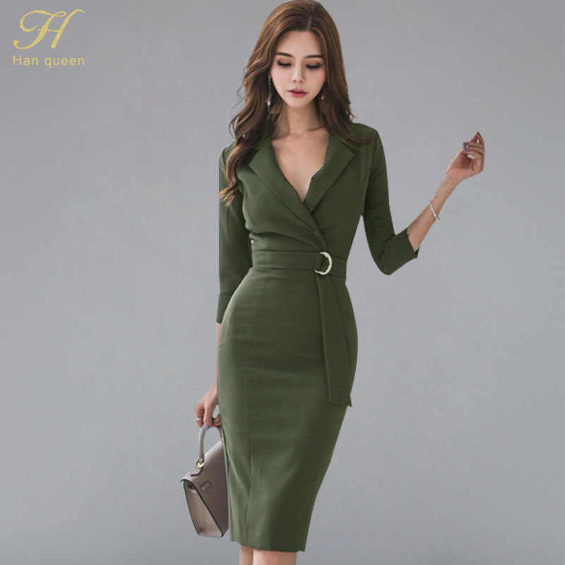 H Han Queen Sexy v-cou 3/4 manches Soid couleur robe crayon femmes 2018 automne taille gaine moulante robes porter au travail Vestidos