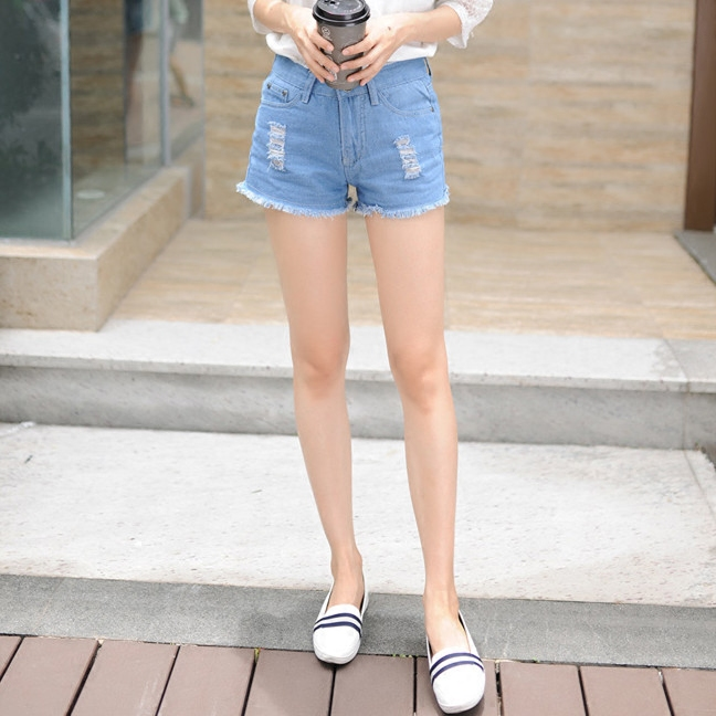 New Casual Summer Style High waist Short jeans large size students Slim thin burr hole denim shorts Women shorts S2077