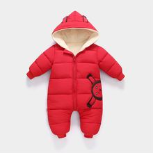 d5329121a New Baby Winter Coat Baby Wear Newborn Plus Velvet Snowsuit Boy Warm Romper  Down Cotton Girl