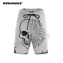Dykhmily Casual White Skull 3D Printed Men's Bermuda Quick Dry Summer Shorts Men Beach Trunks New Fashion Fitness Board Shorts(China)
