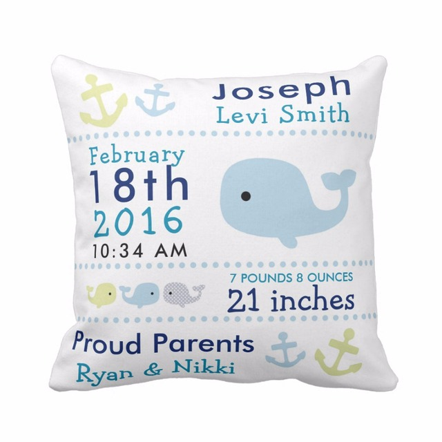 Custom Baby Birth Stats Cute Whale And Owl Throw Pillow Cover Decorative Case Cotton Polyester Nursery Cushion