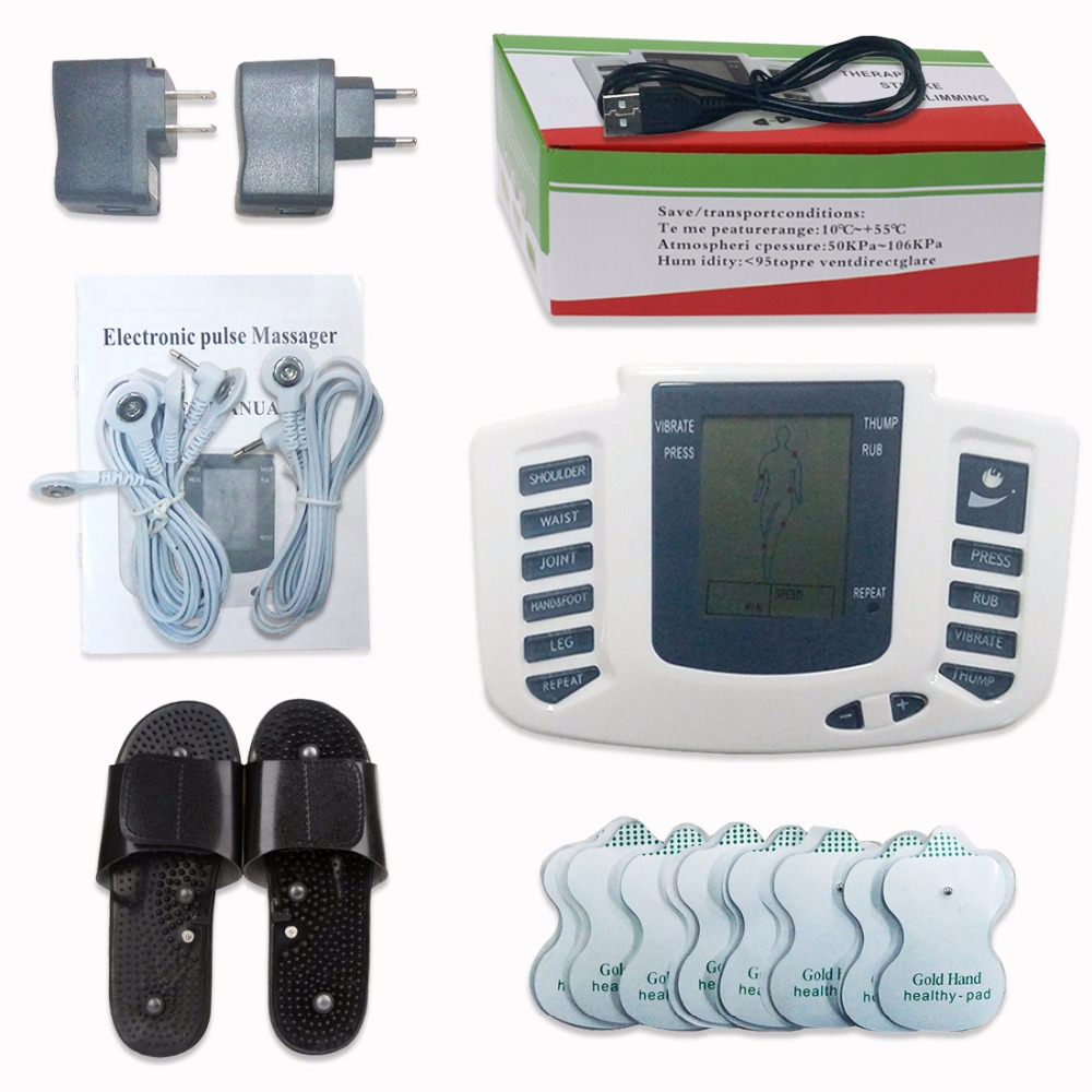 Electrical Stimulator Full Body Relax Muscle Digital Massager Pulse TENS Acupuncture with Therapy Slipper 16 Pcs Electrode Pads mini electric massager digital pulse therapy muscle full body massager blue